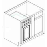 """Manchester Antique White Kitchen Cabinets - Base - 36"""" Blind Corner  - BBC36 Door on LF"""