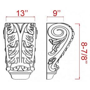 "Manchester Antique White Kitchen Cabinets - Accessories - 13"" X 9"" Decorative Corbel - SBS13-9"