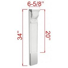"Manchester Antique White Kitchen Cabinets - Accessories - 6 5/8""W X 34""H Decorative Corbel - SBS203414"