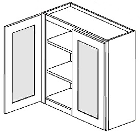 """Spice Shaker Kitchen Cabinets - (door prepared for glass, glass not included) - 24""""W X 42""""H X 12""""D-2D-3S"""