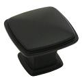 Kitchen Cabinet hardware - Cesar - 1-1/4'' overall length Zinc Diecast Plain Square Cabinet Knob. Finish: Flat Black -1091FB/4391FB