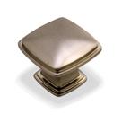 Kitchen Cabinet hardware - Cesar - 1-1/4'' overall length Zinc Diecast Plain Square Cabinet Knob. Finish: Satin Nickel -1091SN/4391SN