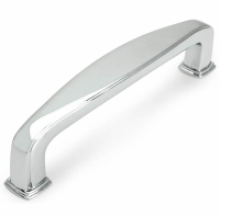 Kitchen Cabinet hardware - Cesar - 4-1/4'' Overall Length Zinc Die Cast Plain Square Cabinet Pull (Drawer Handle). Holes are 96mm center-to-center. Finish: Chrome - 1092CH/4392CH
