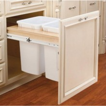 "Cabinet Organizer - Double 35qt Top Mount w/Ball Bearing Soft Close Slides 14 1/2"" Opening . Fits into B18."