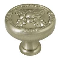Kitchen Cabinet hardware - Marseille Collection - 1-1/4 Inch Diameter Floral Cabinet Knob from the Marseille Collection Satin Nickel - 754-SN/9465