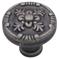 Kitchen Cabinet hardware - Marseille Collection - 1-1/4 Inch Diameter Floral Cabinet Knob from the Marseille Collection Weathered Nickel - 754-WN/9465