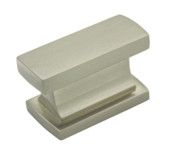 """Kitchen Cabinet hardware - Arteco Collection - 1-7/16"""" Overall Length Rectangle Cabinet Knob. Packaged with one 8/32"""" x 1"""" screw. Finish: Satin Nickel - 891SN/701"""