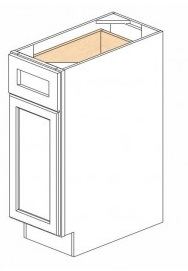 "Shaker White Kitchen Cabinets - Base - 12""W x 24""D x 34-1/2""H - 1 Door 1 Drawer Open Left"