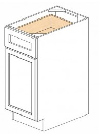 "Shaker White Kitchen Cabinets - Base - 15""W x 24""D x 34-1/2""H - 1 Door 1 Drawer Open Right"