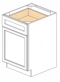 "Shaker White Kitchen Cabinets - Base - 21""W x 24""D x 34-1/2""H - 1 Door 1 Drawer Open Right"
