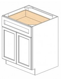 White Kitchen - J&K White Shaker Maple - Base Cabinet B24 - 24W X 24D X 34 1/2H - B24-WS