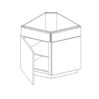 RTA White Kitchen Cabinets - Base End Corner Cabinet - Angle BEC24 - 24W X 24D X 34 1/2H - BEC24-WC