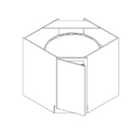 RTA White Kitchen Cabinets - Corner Base Diagonal W/ Lazy Susan CBD36 - 36W X 24D X 34 1/2H - CBD36-WC