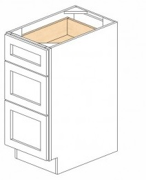 White Kitchen - J&K White Shaker Maple - Base Drawer -3 Drawers DB12-3 - 12W X 24D X 34 1/2H - DB12-3-WS