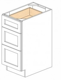 White Kitchen - J&K White Shaker Maple - Base Drawer -3 Drawers DB15-3 - 15W X 24D X 34 1/2H - DB15-3-WS