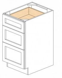 White Kitchen - J&K White Shaker Maple - Base Drawer -3 Drawers DB18-3 - 18W X 24D X 34 1/2H - DB18-3-WS