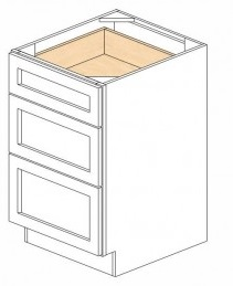 White Kitchen - J&K White Shaker Maple - Base Drawer -3 Drawers DB21-3 - 21W X 24D X 34 1/2H - DB21-3-WS