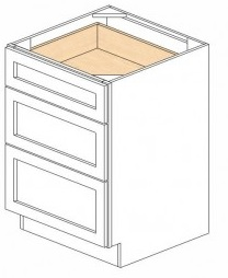 RTA White Kitchen Cabinets - Base Drawer -3 Drawers DB24-3 - 24W X 24D X 34 1/2H - DB24-3-WC