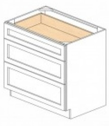 White Kitchen - J&K White Shaker Maple - Base Drawer -3 Drawers DB33-3 - 33W X 24D X 34 1/2H - DB33-3-WS