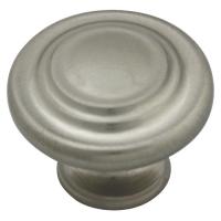 Kitchen Cabinet hardware - Miami Collection - 1-1/4'' overall Round Cabinet Knob. Finish: Satin Nickel - 567SN/9971