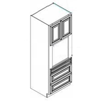 """Grey Shaker Kitchen Cabinets - Oven Cabinet - 33""""W x 24""""D x 84""""H"""