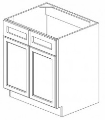 White Kitchen - J&K White Shaker Maple - Sink Base Cabinet SB30 - 30W X 24D X 34 1/2H - SB30-WS