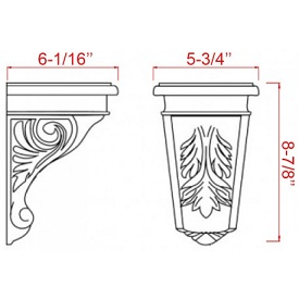 "Light Gray Shaker Kitchen Cabinets - Accessories - 9"" X 6"" Decorative Corbel - SBS9-6"
