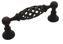 """Kitchen Cabinet hardware - Kitchen Cabinet hardware -La Foce Collection - 5"""" Overall Length Birdcage Cabinet Pull. Holes are 96mm center-to-center. Finish: Dark Antique Copper Machined - 749L-96ORB/1749-96"""