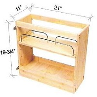 "Cabinet Organizer - Base Pullout Shelves w/SS Dividers. Fits into a B15 and B30 (single side) 11""W x 19  3/4""H x 21""D"