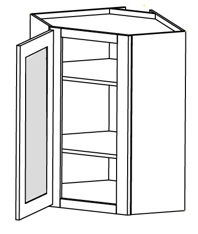 "Charleston Antique White Kitchen Cabinets - Wall Diagonal Glass Door Corner Cabinet with Finished Interior - 27""W X 36""H X 15""D-1D-2S Left Hinged - Glass Not Included"