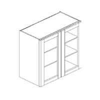 RTA White Kitchen Cabinets - Wall Glass Cabinet - WM2430H - 24W X 12D - WM2430H-WC