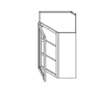 RTA White Kitchen Cabinets - Wall Diagonal Corner Glass Cabinet WMDC2430H - 24W X 12D X 30H - WMDC2430H-WC