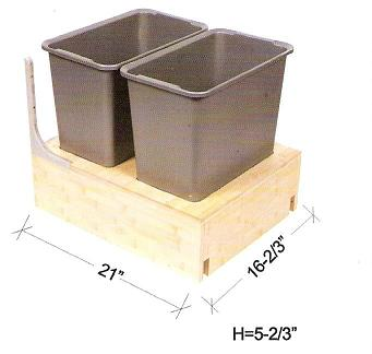 "Cabinet Organizer - Pullout Waste Basket w/2 Waste Baskets. Fits into B21. 16 2/3""W x 21""D x 5""H"