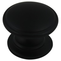 "Kitchen Cabinet hardware - York Collection - 1-1/4"" Diameter Zinc Die Cast Cabinet Knob. Packaged with one 8/32"" x 1"" screw. Finish: Flat Black - 470-FB/4702"
