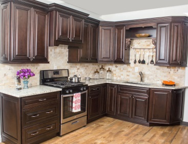 Dark Wood Kitchen Cabinets - Tall Cabinetry