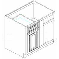 "York Antique White Kitchen Cabinets - Base Blind Corner - 27""W x 24""D x 34-1/2""H - 1 Door 1 Drawer Left.  Must be installed between 39"" & 40"". Inside Opening: 8-1/2"""