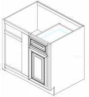 "Charleston Saddle Kitchen Cabinets - Base Blind Corner - 39""W x 24""D x 34-1/2""H - 1 Door 1 Drawer Right. Must be installed between 42"" & 45"". Inside Opening: 14-1/2"""