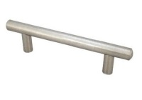 "Kitchen Cabinet hardware - West Island - 6-1/8"" overall length cabinet bar pull. Holes are 96mm center-to-center. 9/16"" Diameter. Packaged with two 8/32"" x 1"" screws. Finish: Satin Nickel - 146SN/305"