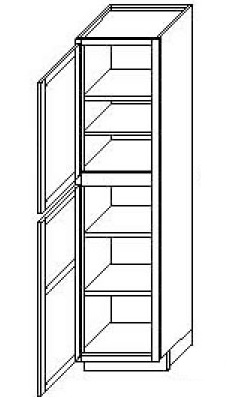 "Mocha Shaker Kitchen Cabinets - Wall Pantry - 18""W x 24""D x 84""H Left Hinged"